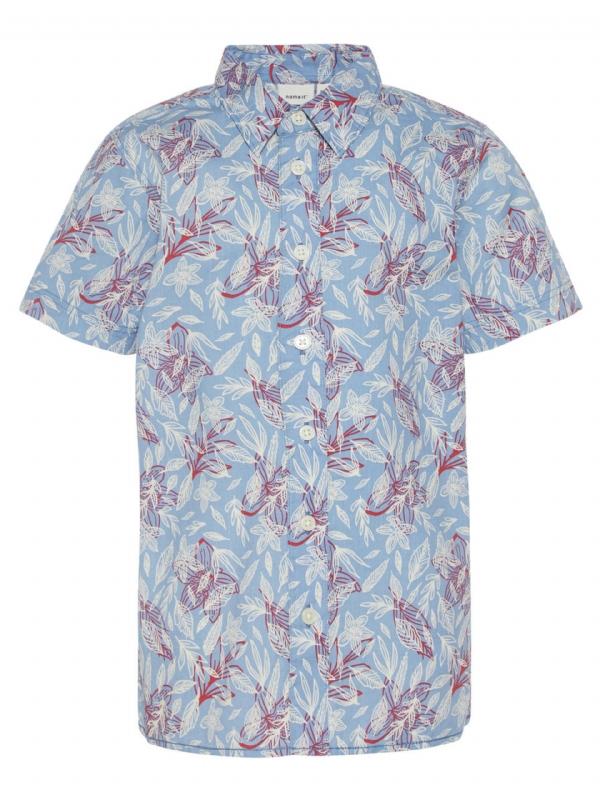 Kortärmad Skjorta KARL Blå Blommig - Filur 0927abbbba8c6