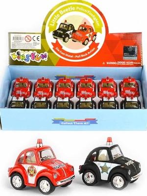 Mini Folkabil i metall - Little Beetle Police/Firefighter