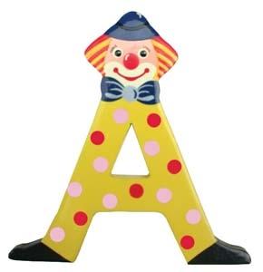 Små Clownbokstäver / Bokstäver i trä med Clown