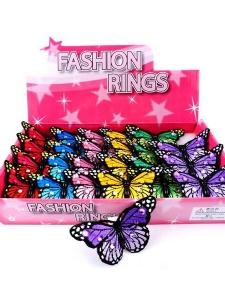 Ring med stor tygfjäril, olika färger