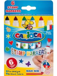 Carioca Fiberpennor 6-p med Stämplar