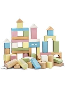 Micki Byggklossar i trä - Pastell
