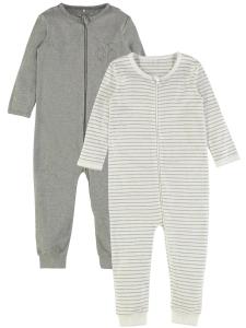 Helpyjamas Nightsuit 2-pack med zip Grå