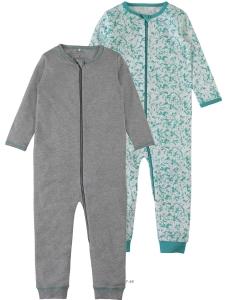 HelPyjamas 2-pack Nightsuit grå/grönmönstrad