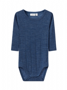 NBMWANG WOOL NEEDLE LS BODY NOOS BLÅ