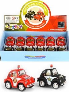 Mini Folkabil i metall - Little Beetle Police/Fire...