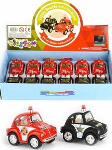 Mini Folkabil i metall - Little Beetle Police/Fire...