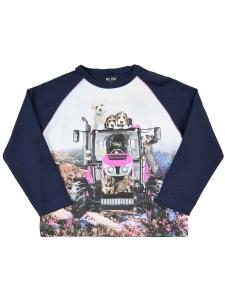 T-shirt LS Rolig Rosa Traktor Hundar